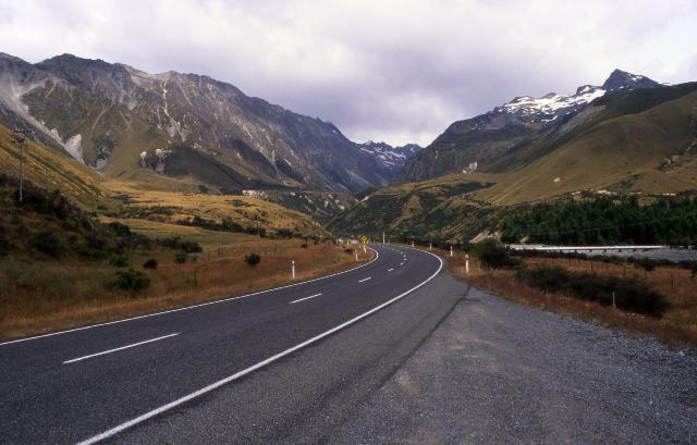 Route to Mt. Cook National Park